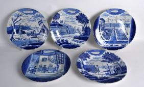 A SET OF FOUR 18TH CENTURY CONTINENTAL DELFT FAIENCE