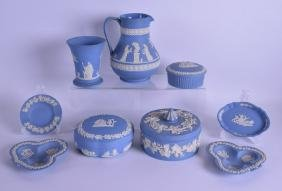 A COLLECTION OF WEDGWOOD BLUE JASPERWARE including a