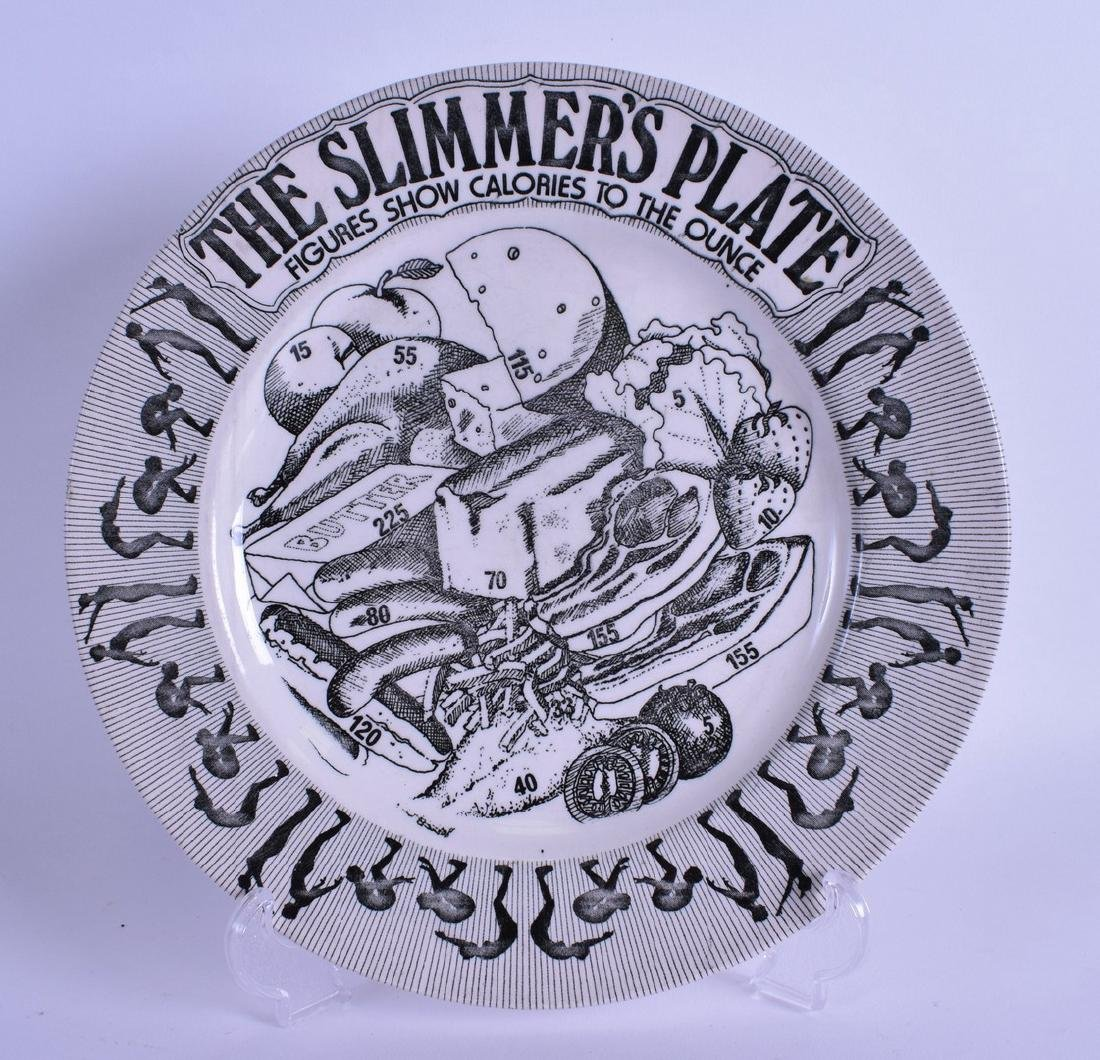 AN UNUSUAL VINTAGE 'THE SLIMMER'S PLATE' decorated in