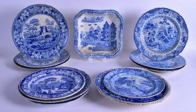 A GROUP OF THIRTEEN 19TH CENTURY ENGLISH BLUE AND WHITE