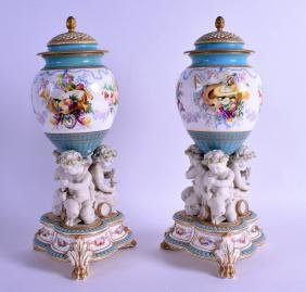 A CHARMING PAIR 19TH CENTURY COPELAND PARIAN VASES AND