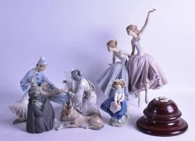 A GROUP OF SIX LLADRO FIGURES of various forms and