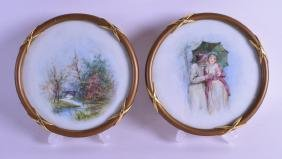 A PAIR OF EARLY 20TH CENTURY EUROPEAN FRAMED PORCELAIN