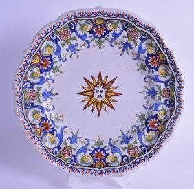 AN 18TH CENTURY FAIENCE GLAZED CONTINENTAL POTTERY DISH
