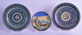 A PAIR OF EUROPEAN FAIENCE DISHES together with another