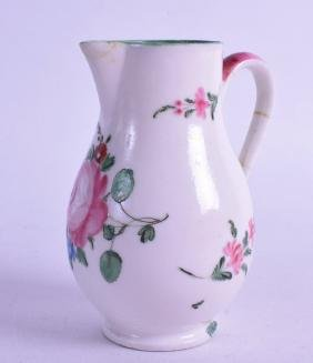 AN 18TH CENTURY MENNECY BEAK JUG, painted with a large