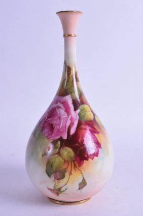 A ROYAL WORCESTER BOTTLE VASE, painted with Hadley