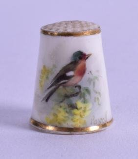 A RARE ROYAL WORCESTER PORCELAIN THIMBLE, painted with