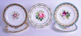 A SET OF FIVE MINTON HARLEQUIN PLATES, painted with