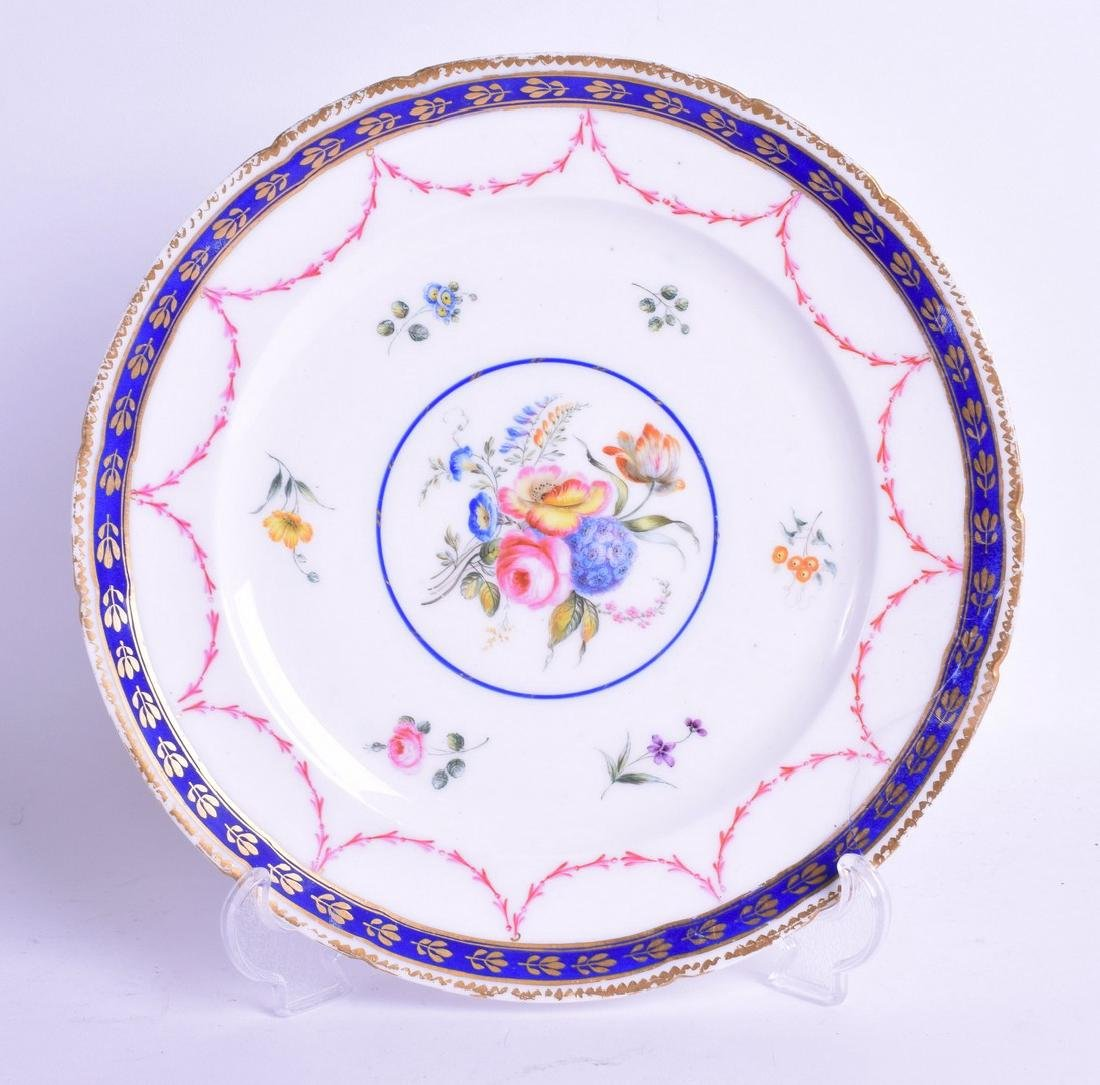 AN 18TH CENTURY SEVRES PLATE, painted with flowers. 27