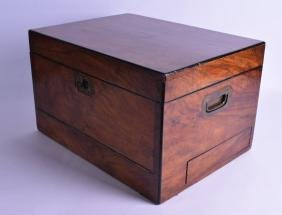 A LARGE VICTORIAN ROSEWOOD WRITING BOX with rising top