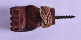 AN UNUSUAL PITCAIRN ISLANDS CARVED WOOD HANDLE in the