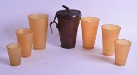 A GOOD SET OF SIX CASED ANTIQUE  HORN BEAKERS contained