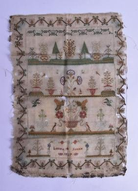 AN EARLY 19TH CENTURY UNFRAMED ENGLISH SAMPLER by