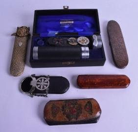 AN ARTS AND CRAFTS COPPER GLASSES CASE together with