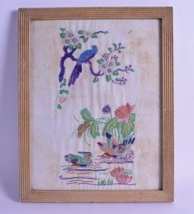 AN EARLY 20TH CENTURY FRAMED EMBROIDERED PANEL