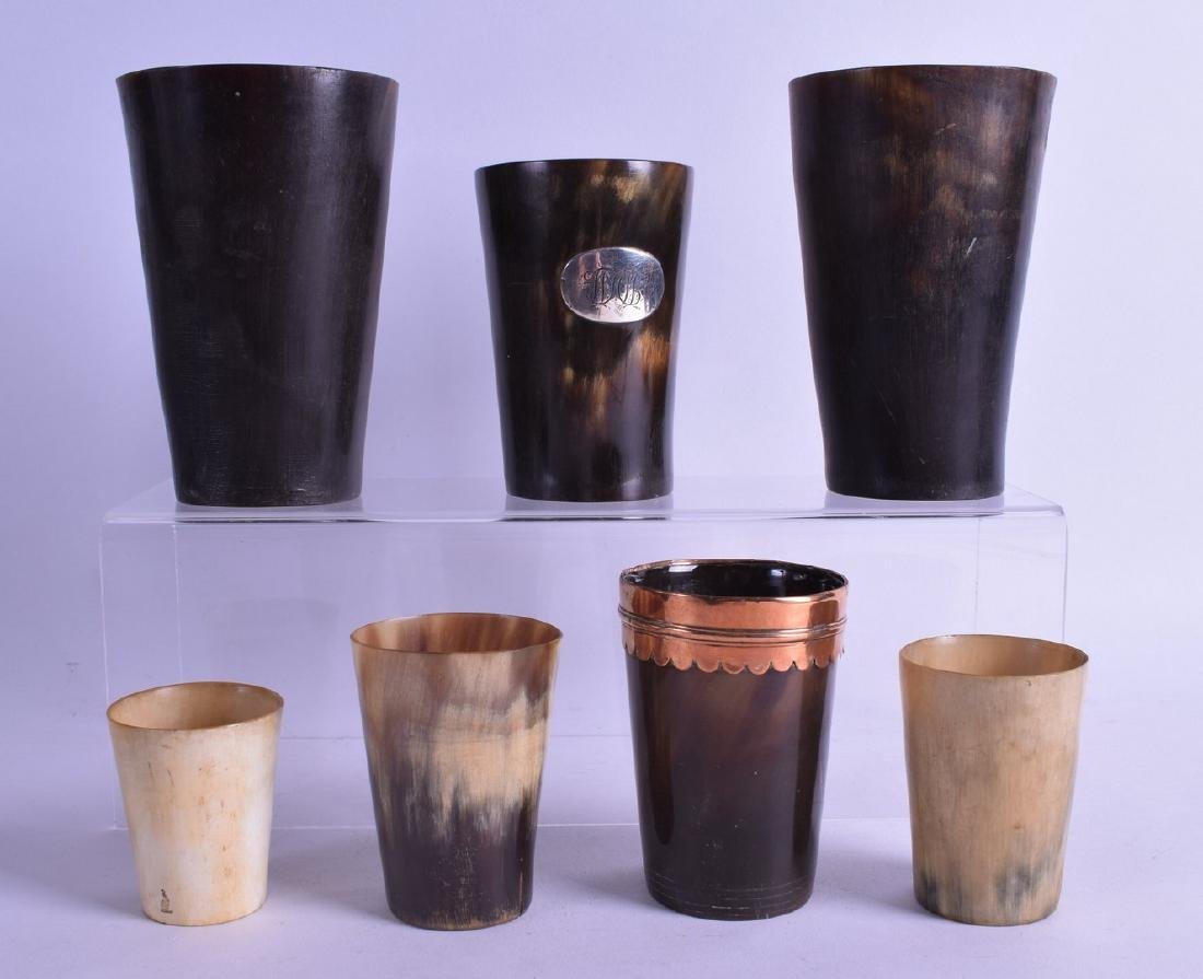 A SET OF SEVEN ANTIQUE HUNTING BEAKERS of various