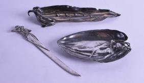 AN ART NOUVEAU WMF PEWTER PEN TRAY in the form of a