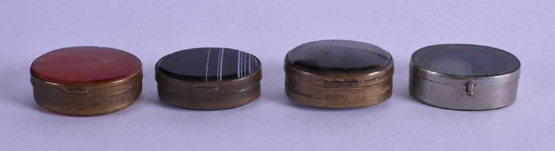 FOUR EARLY 20TH CENTURY FRENCH BRASS AND HARDSTONE PILL