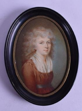 A LARGE 19TH CENTURY FRAMED PAINTED PORTRAIT MINIATURE