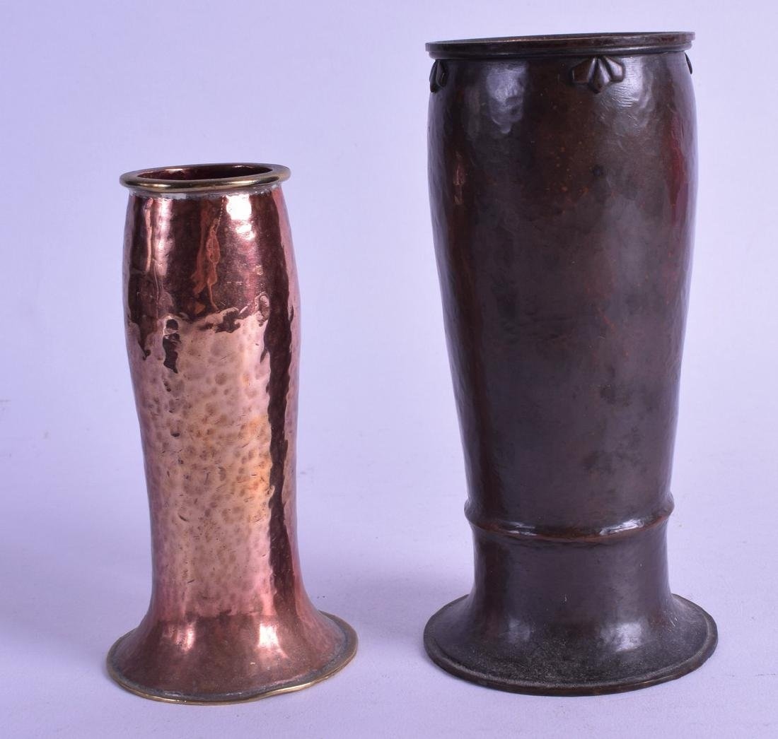 TWO ARTS AND CRAFTS BEATEN COPPER VASES one with subtle