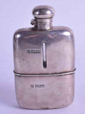 AN ENGLISH SILVER MOUNTED HUNTING HIP FLASK. Sheffield