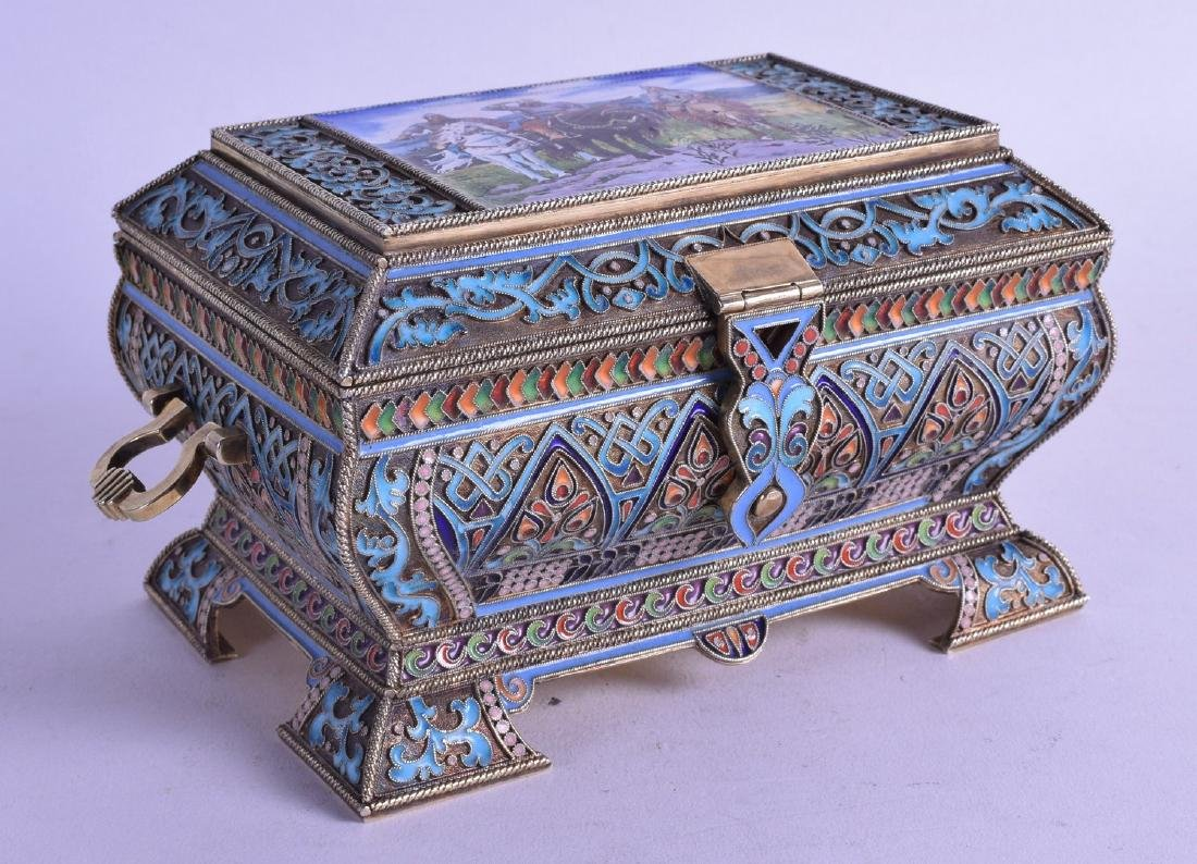 A STUNNING 19TH CENTURY RUSSIAN SILVER GILT CHAMPLEVE