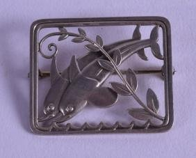 A STYLISH ARTS AND CRAFTS BROOCH BY Georg Jensen,