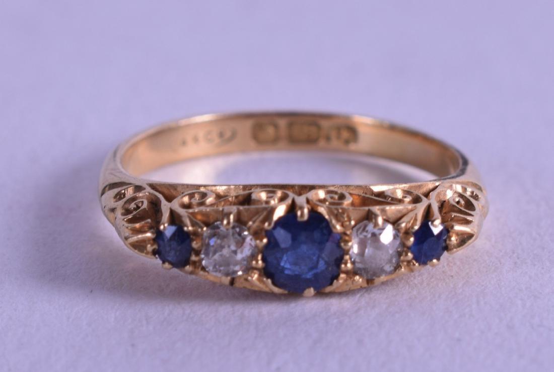 AN 18CT YELLOW GOLD EDWARDIAN SAPPHIRE AND DIAMOND