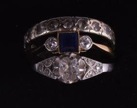 AN 18CT YELLOW GOLD SAPPHIRE AND DIAMOND RING together