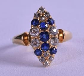 AN ANTIQUE 18CT YELLOW GOLD DIAMOND AND SAPPHIRE RING.