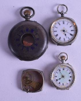 TWO ANTIQUE SILVER FOB WATCHES with white enamel dials,