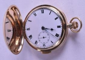 AN ANTIQUE 9CT YELLOW GOLD GENTLEMANS POCKET WATCH with