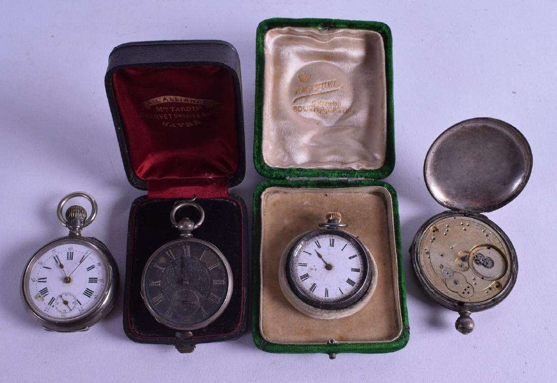 TWO LATE 19TH CENTURY BOXED SILVER ENGRAVED FOB WATCHES