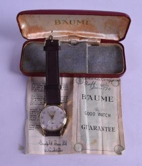A 1960S BOXED GENTLEMANS BAUME BIMATIC WRISTWATCH with
