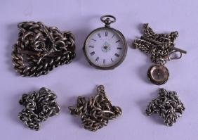 A LATE 19TH CENTURY CONTINENTAL LADIES SILVER FOB WATCH