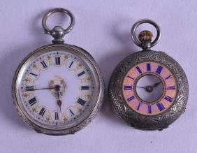 TWO CONTINENTAL SILVER AND ENAMEL LADIES FOB WATCHES.