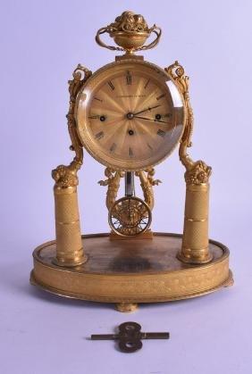 A GOOD EARLY 19TH CENTURY AUSTRIAN ORMOLU MANTEL CLOCK