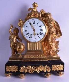 A GOOD LARGE 19TH CENTURY FRENCH ORMOLU MANTEL CLOCK
