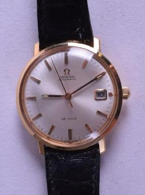 A GOOD 18CT YELLOW GOLD GENTLEMANS OMEGA AUTOMATIC DE