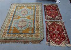 A BEIGE GROUND HAMADAN together with a pair of prayer