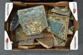 TWO BOXES OF ASSORTED PERSIAN TILE FRAGMENTS in various