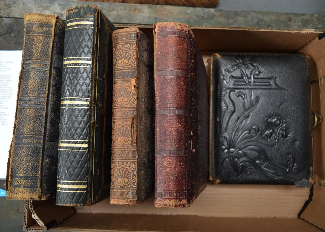 FIVE VICTORIAN LEATHER BOUND PHOTOGRAPH ALBUMS. (5)