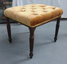 A WILLIAM IV UPHOLSTERED STOOL