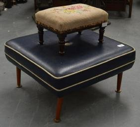 A RETRO BLUE LEATHER FOOT STOOL together with another.