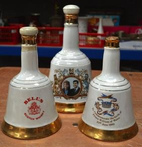 THREE NOVELTY BELLS SCOTCH WHISKY DECANTERS with