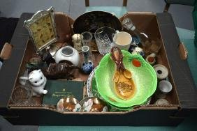 A BOXED OF ASSORTED ITEMS including glass, porcelain