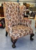 A GOOD LARGE VICTORIAN WING ARMCHAIR with period