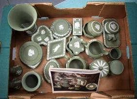 A LARGE COLLECTION OF WEDGWOOD GREEN JASPERWARE in