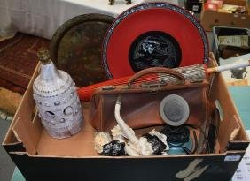 A VINTAGE TELEPHONE together with a Chinese lacquered